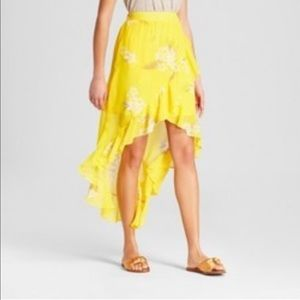 a new day Floral Ruffle Wrap Skirt Yellow M NWT